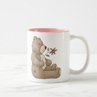 Teddy Bear Flower Two-Tone Coffee Mug