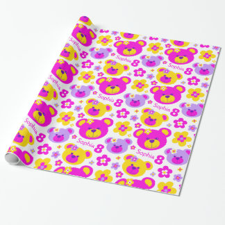 Teddy bear flowers 8th birthday name gift paper wrapping paper