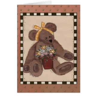 Teddy Bear Flowers Card
