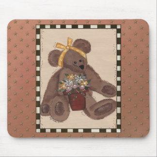 Teddy Bear Flowers Mouse Pad