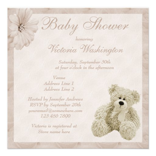 teddy bear flowers neutral baby shower personalized invitations