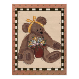 Teddy Bear Flowers Postcard