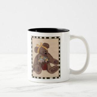 Teddy Bear Flowers Two-Tone Coffee Mug