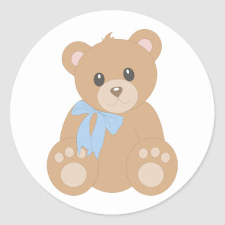 """Teddy Bear"" for Boys Classic Round Sticker"