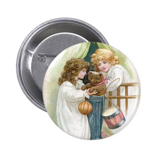 Teddy Bear Found in Stocking Vintage Christmas Pinback Buttons