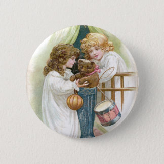 Teddy Bear Found in Stocking Vintage Christmas Pinback Button