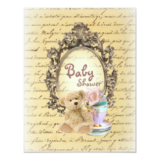 teddy bear french country baby shower invitations