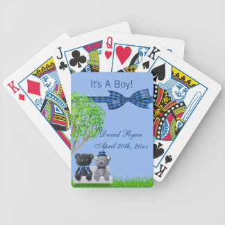 Teddy Bear Friends Boy Baby Shower Bicycle Playing Cards