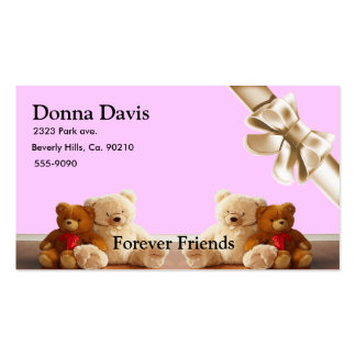 Teddy Bear Friends Set Double-Sided Standard Business Cards (Pack Of 100)