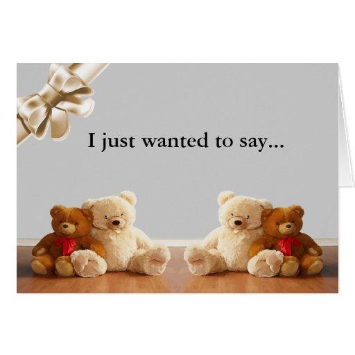 Teddy Bear Friends Sit Greeting Card