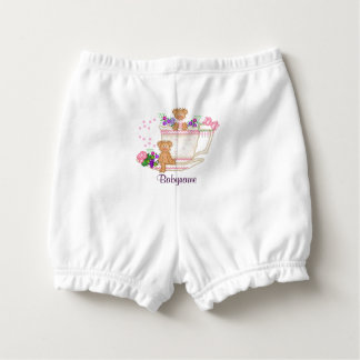 Teddy Bear Friends Tea Cup Flowers Personalized Diaper Cover