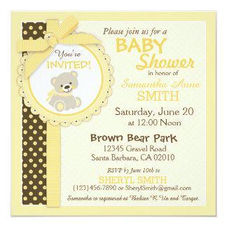 Teddy Bear Gender Neutral Baby Shower Card