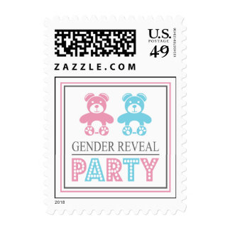 Teddy Bear Gender Reveal Party Postage