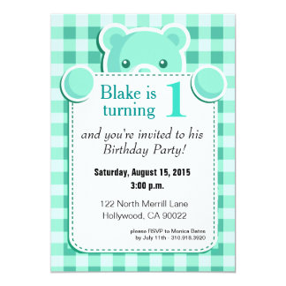 Teddy Bear Gingham Plaid Birthday | mint green Card