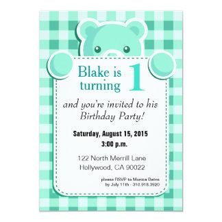 Teddy Bear Gingham Plaid Birthday | mint green 5x7 Paper Invitation Card