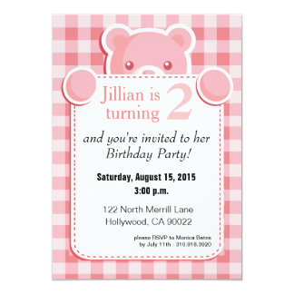 Teddy Bear Gingham Plaid Birthday | pink Card