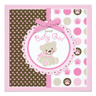 Teddy Bear Girl Baby Shower Pink 5.25x5.25 Square Paper Invitation Card
