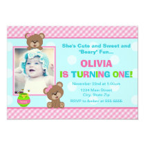 Teddy Bear Girl Birthday Invitation 5x7 Photo Card