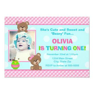 Teddy Bear Girl Birthday Invitation 5x7 Photo Card
