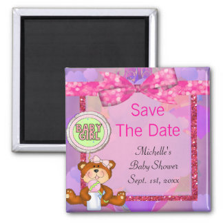 Teddy Bear Girl Glitter Sparkle Baby Shower 2 Inch Square Magnet