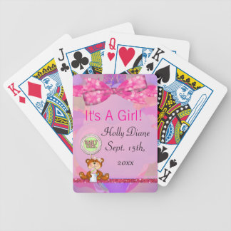 Teddy Bear Girl Glitter Sparkle Baby Shower Bicycle Playing Cards