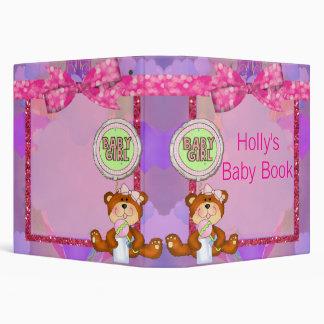 Teddy Bear Girl Glitter Sparkle Baby Shower Binder