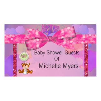 Teddy Bear Girl Glitter Sparkle Baby Shower Business Card Templates