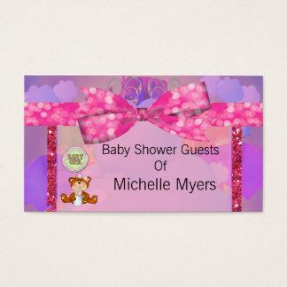 Teddy Bear Girl Glitter Sparkle Baby Shower Business Card