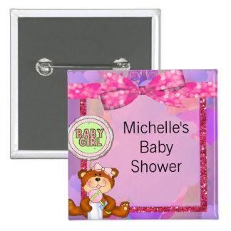 Teddy Bear Girl Glitter Sparkle Baby Shower Button
