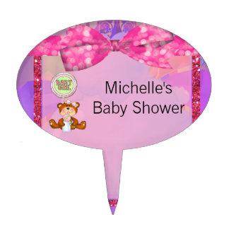 Teddy Bear Girl Glitter Sparkle Baby Shower Cake Topper