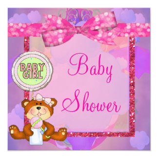 Teddy Bear Girl Glitter Sparkle Baby Shower Card