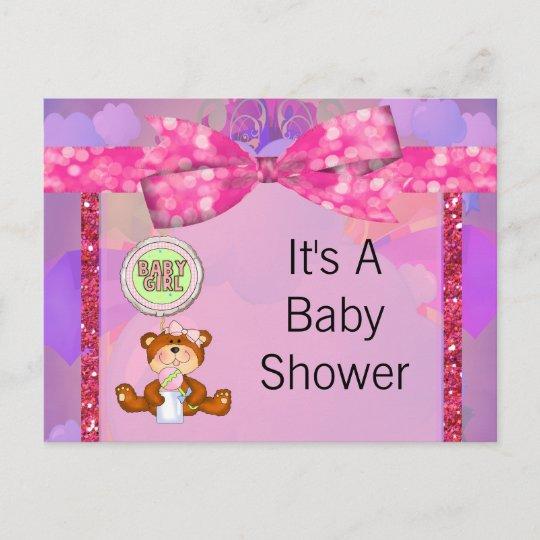 Teddy Bear Girl Glitter Sparkle Baby Shower Invitation Postcard