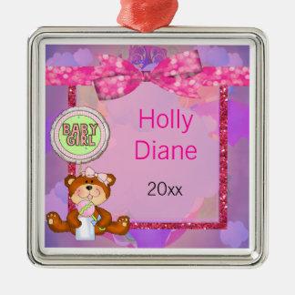 Teddy Bear Girl Glitter Sparkle Baby Shower Metal Ornament
