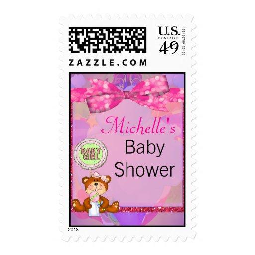 Teddy Bear Girl Glitter Sparkle Baby Shower Postage