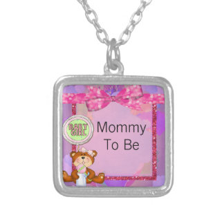 Teddy Bear Girl Glitter Sparkle Baby Shower Square Pendant Necklace