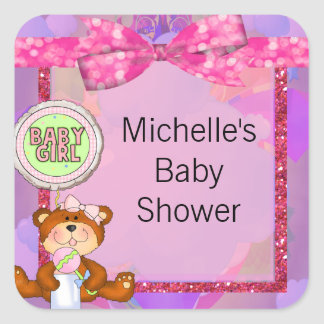 Teddy Bear Girl Glitter Sparkle Baby Shower Square Sticker