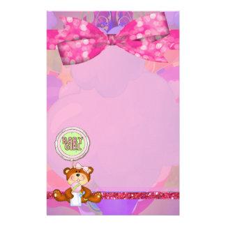 Teddy Bear Girl Glitter Sparkle Baby Shower Stationery
