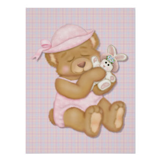 Teddy Bear Girl in  Pink Hat Poster