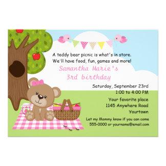 Teddy Bear Girl s Picnic Birthday Personalized Invitation