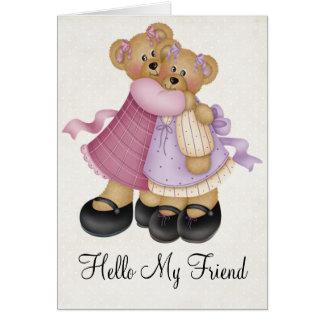 Teddy Bear Girlfriends 2 Friendship Greeting Card