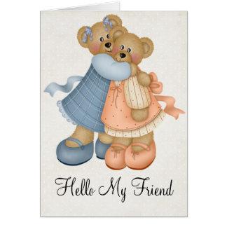 Teddy Bear Girlfriends Friendship Greeting Card