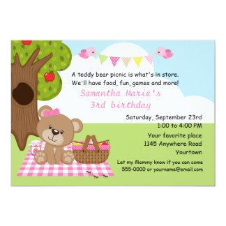 "Teddy Bear Girl's Picnic Birthday 5"" X 7"" Invitation Card"