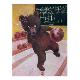 Teddy Bear Goes Bowling Postcard