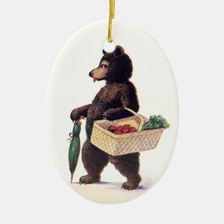 Teddy Bear Goes to Market Ceramic Ornament