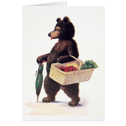 Teddy Bear Goes to Market Greeting Card