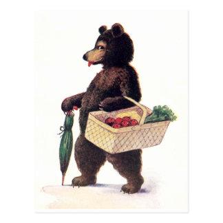Teddy Bear Goes to Market Postcard