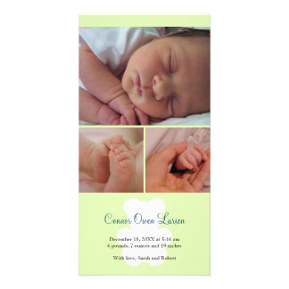 Teddy bear green montage baby birth announcement picture card