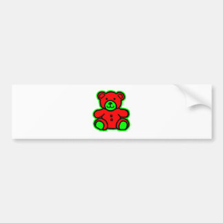 Teddy Bear Green Red The MUSEUM Zazzle Gifts Car Bumper Sticker