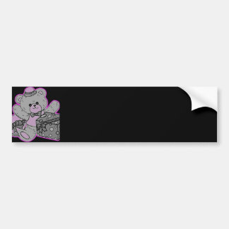 Teddy Bear Grey & Pink on Black Bumper Sticker