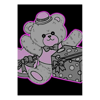 Teddy Bear Grey & Pink on Black Business Cards